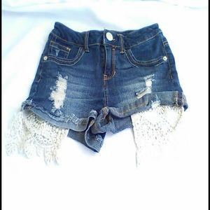 Peekaboo lace Denim Shorts